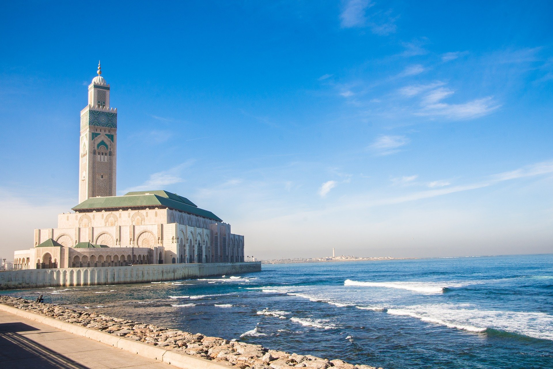 the Hassan II Mosque in Morocco on the Atlantic coast