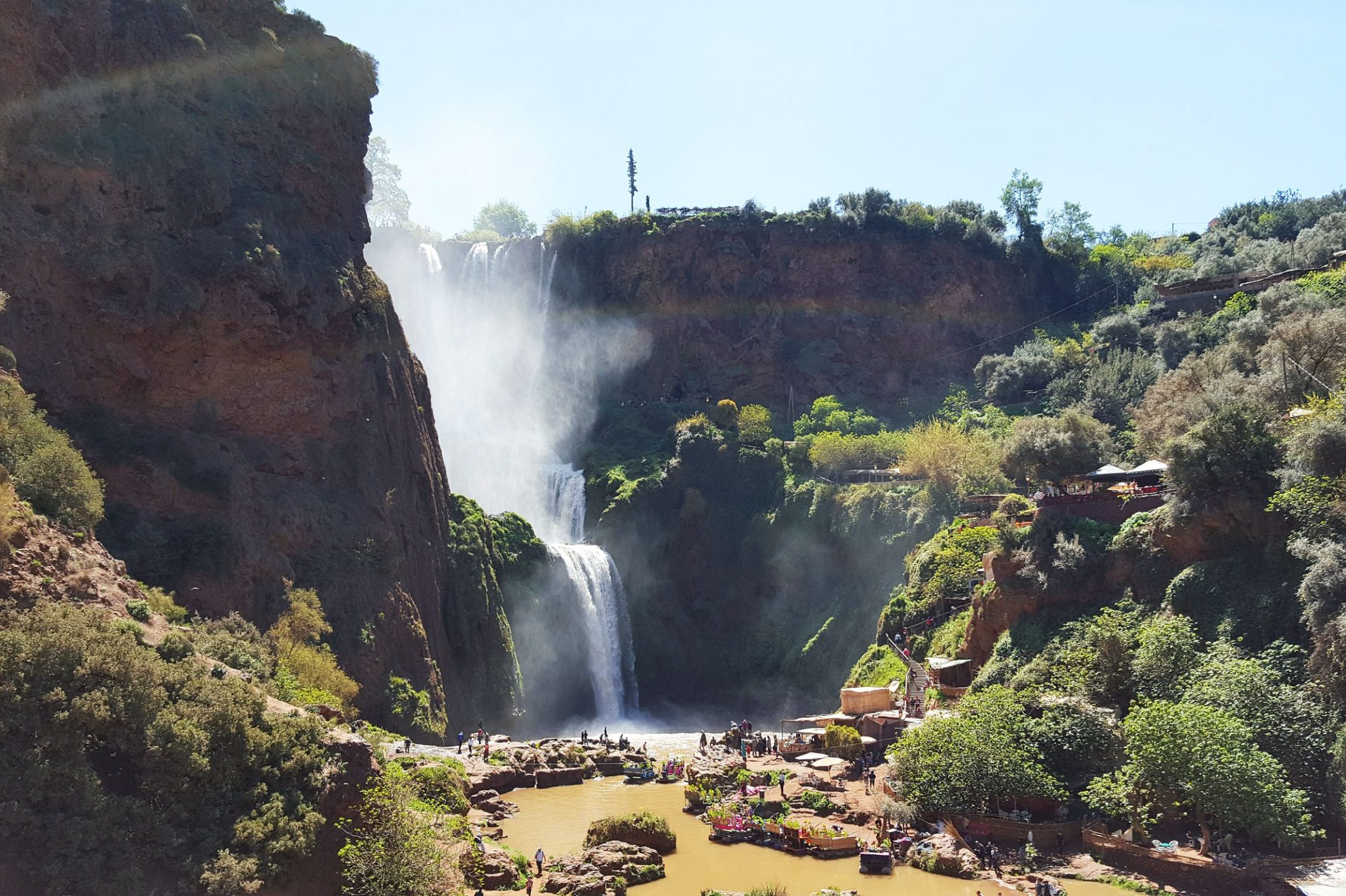 people visit the ouzoud falls in Morocco