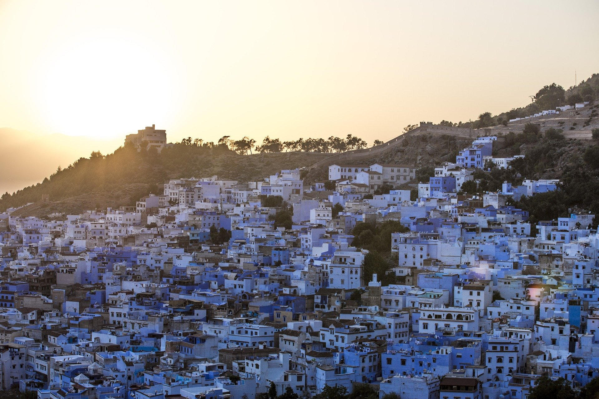panoramic view of Chefchaouen the blue pearl of Morocco