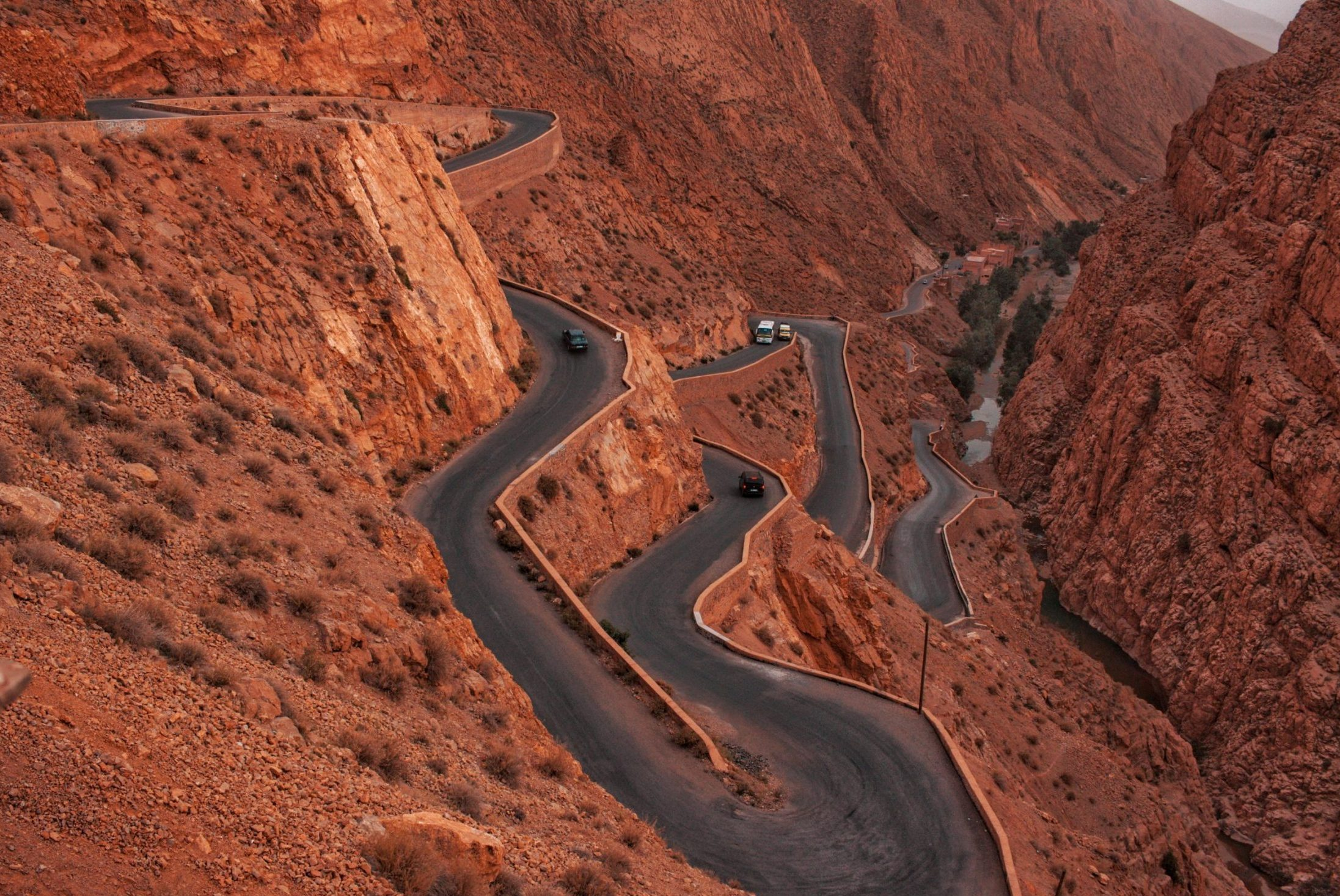 winding road of Dades Gorges in the High Atlas Mountains